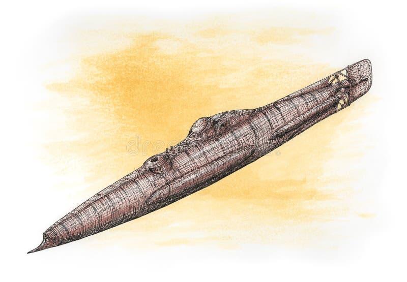 Submarino da fantasia em um estilo do steampunk ilustração stock