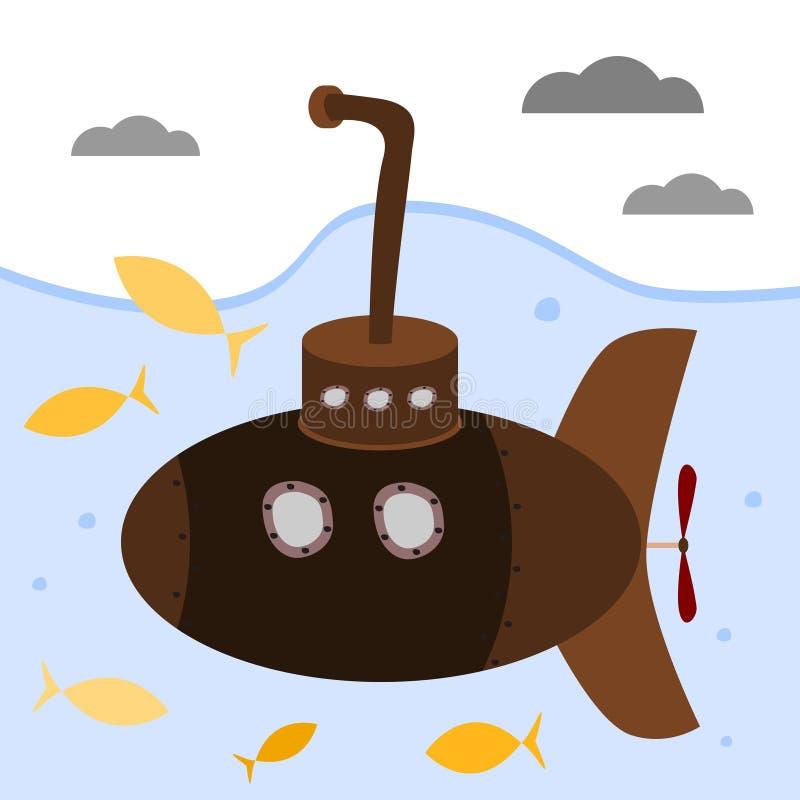 Submarino de Brown com periscópio ilustração royalty free