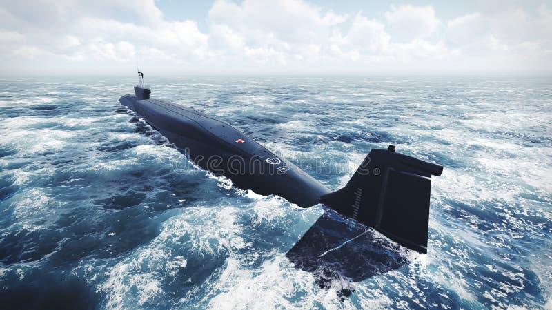 Submarino de la clase de Borei del ruso en el agua septentrional imágenes de archivo libres de regalías