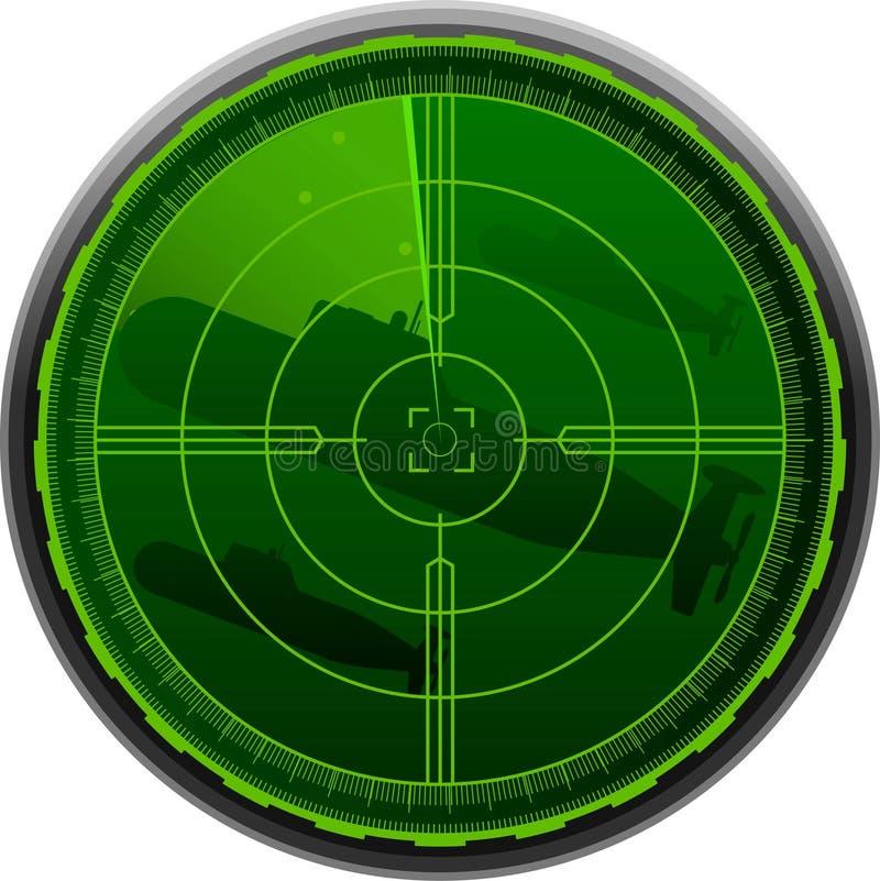 Submarino de la pantalla de radar ilustración del vector