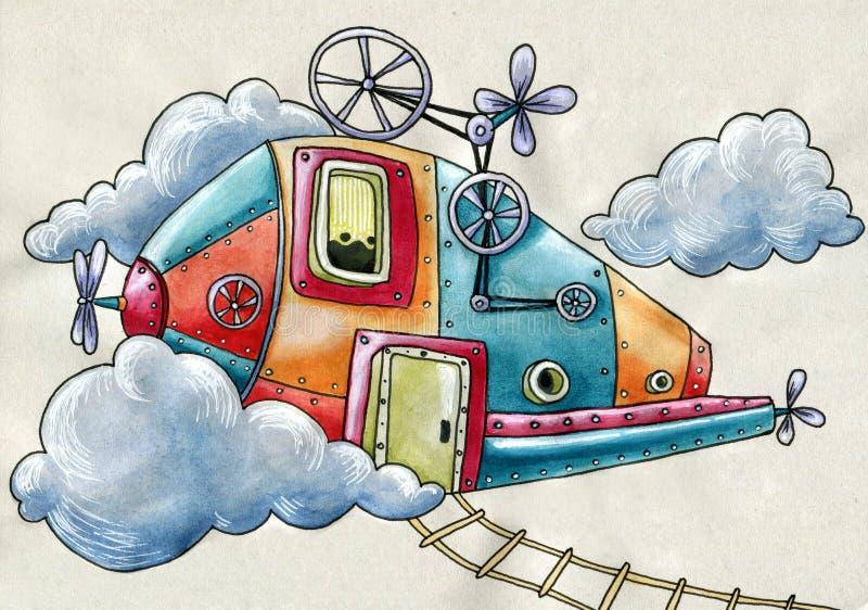 Submarino del vuelo a través de las nubes stock de ilustración