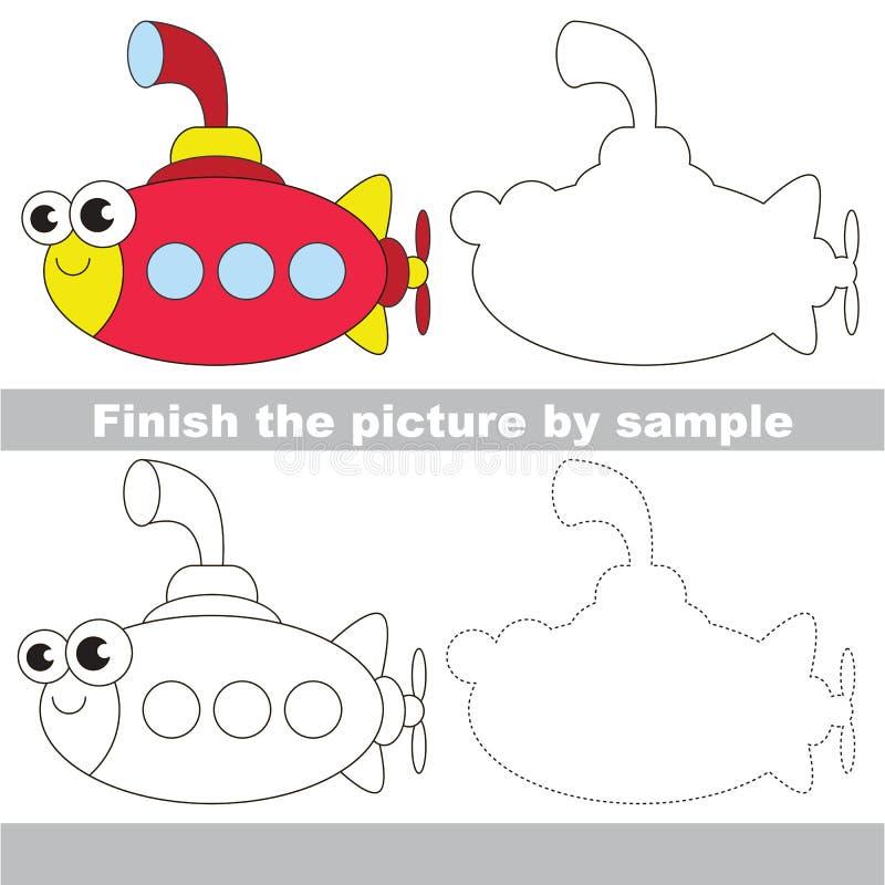 Submarino divertido Hoja de trabajo del dibujo ilustración del vector