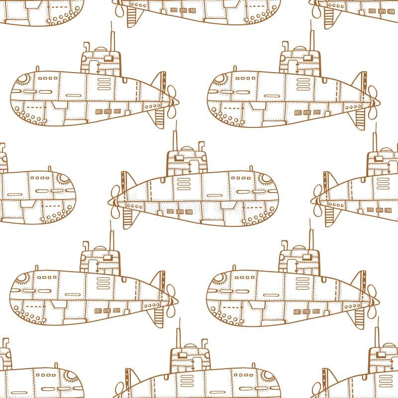 Submarino do esboço da garatuja ilustração do vetor