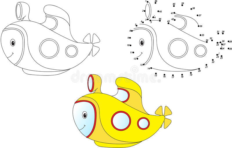 Submarino dos desenhos animados Ilustração do vetor Coloração e ponto a pontilhar ilustração stock