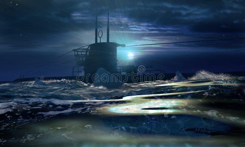 Submarino e tubarões ilustração stock