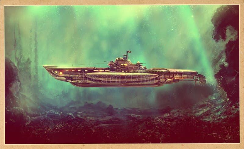 Submarino fantástico do pirata ilustração do vetor