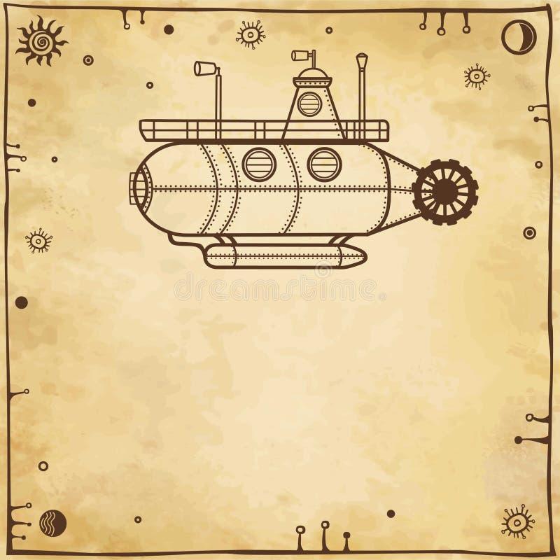 Submarino fantástico estilizado ilustração do vetor