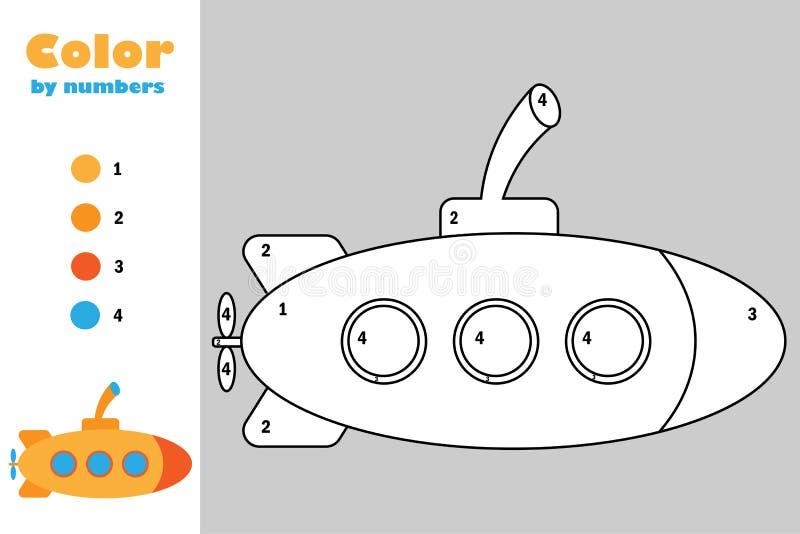 Submarino no estilo dos desenhos animados, cor pelo número, jogo do papel da educação para o desenvolvimento das crianças, página ilustração do vetor
