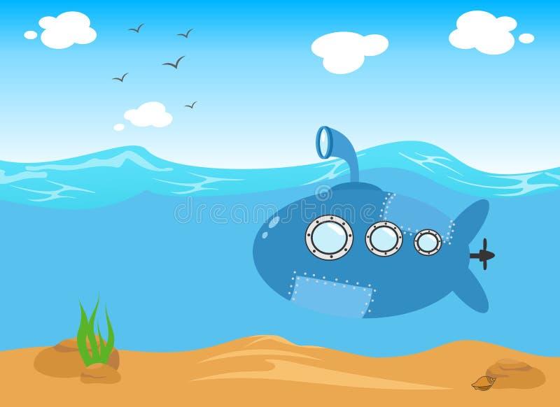 Submarino no mar, ilustração dos desenhos animados do vetor ilustração stock