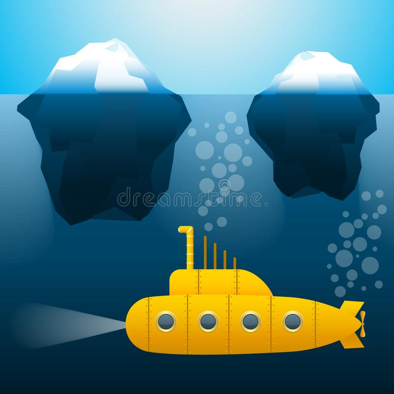 Submarino sob a água icebergs Estilo dos desenhos animados Cores brilhantes Imagem do vetor ilustração do vetor