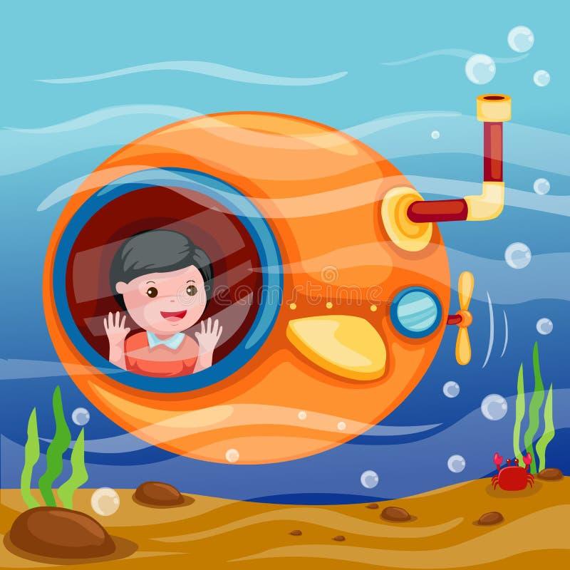 Submarino subaquático ilustração do vetor