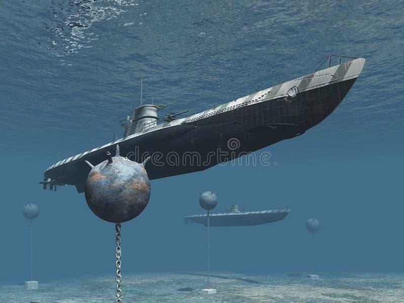 Submarinos en la 2da guerra mundial de Océano Atlántico stock de ilustración
