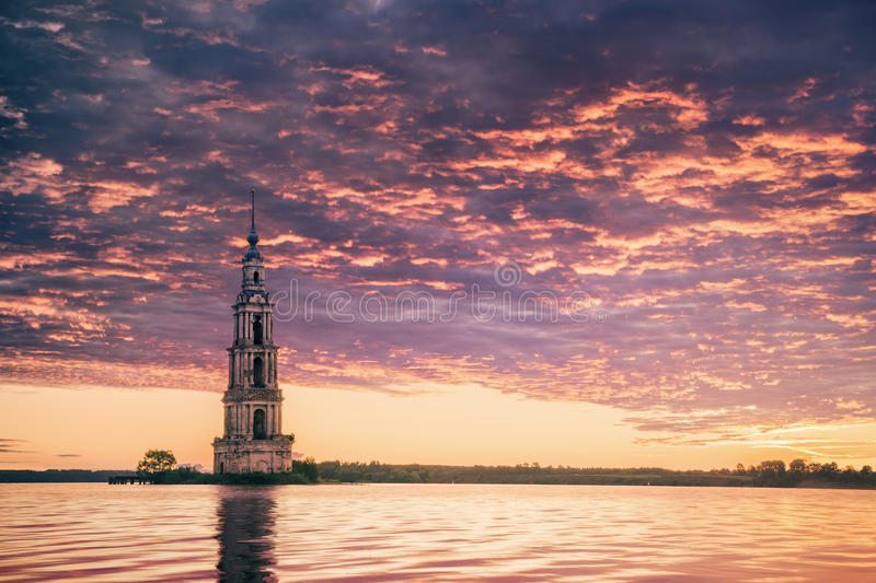 Download Submerged Bell Tower In River Beautiful Sunrise Stock Photo - Image: 26011614