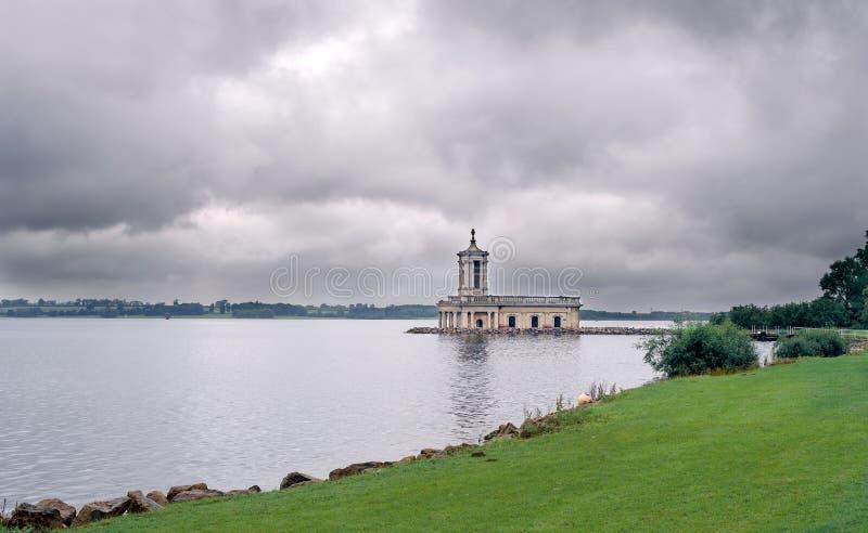 Submerged church. Half-submerged church on a peninsular in a lake stock photo