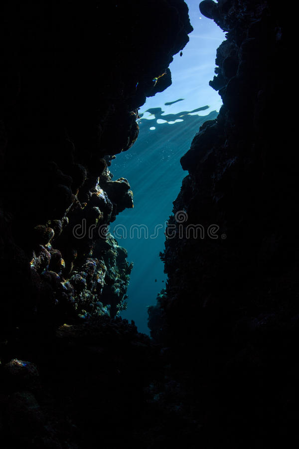 Submerged Grotto in Reef. Light descends into a dark crevice on a coral reef in the tropical Pacific Ocean. Dark habitats provide niches for organisms that shun stock image