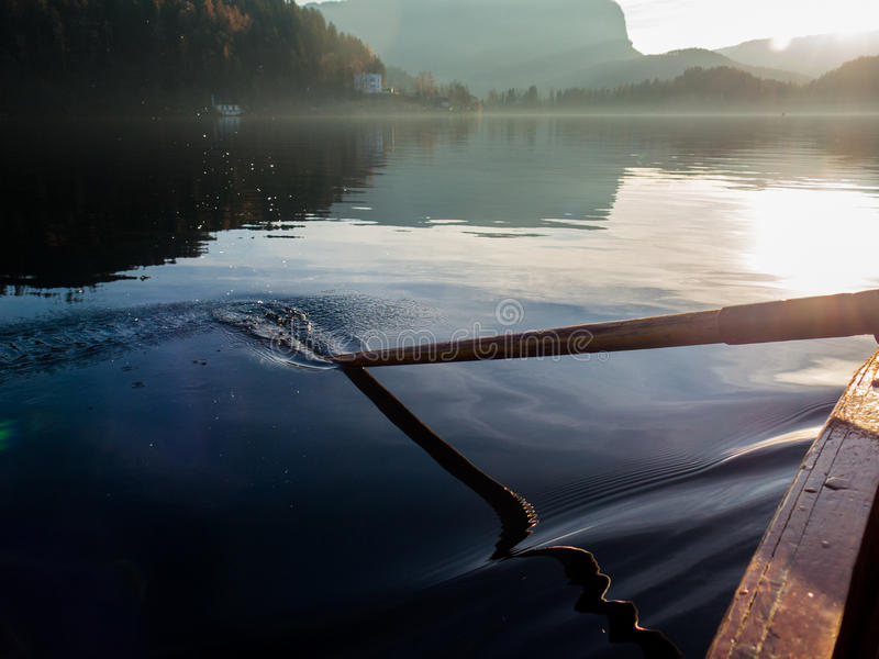 Submerged paddle. Paddle submerged in the water royalty free stock photography
