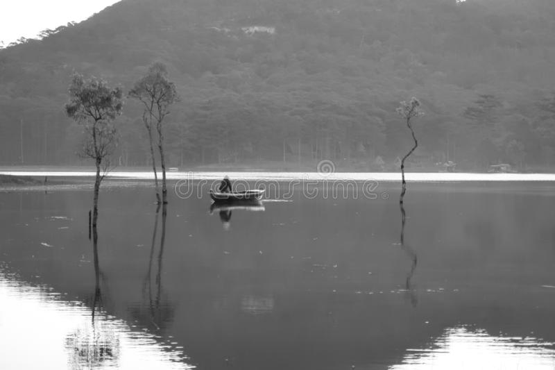 Flooded forest reflection on the lake with boatman in magic light part 52. Submerged trees with green fresh leaves reflecting on the lake and the boatman at stock photography