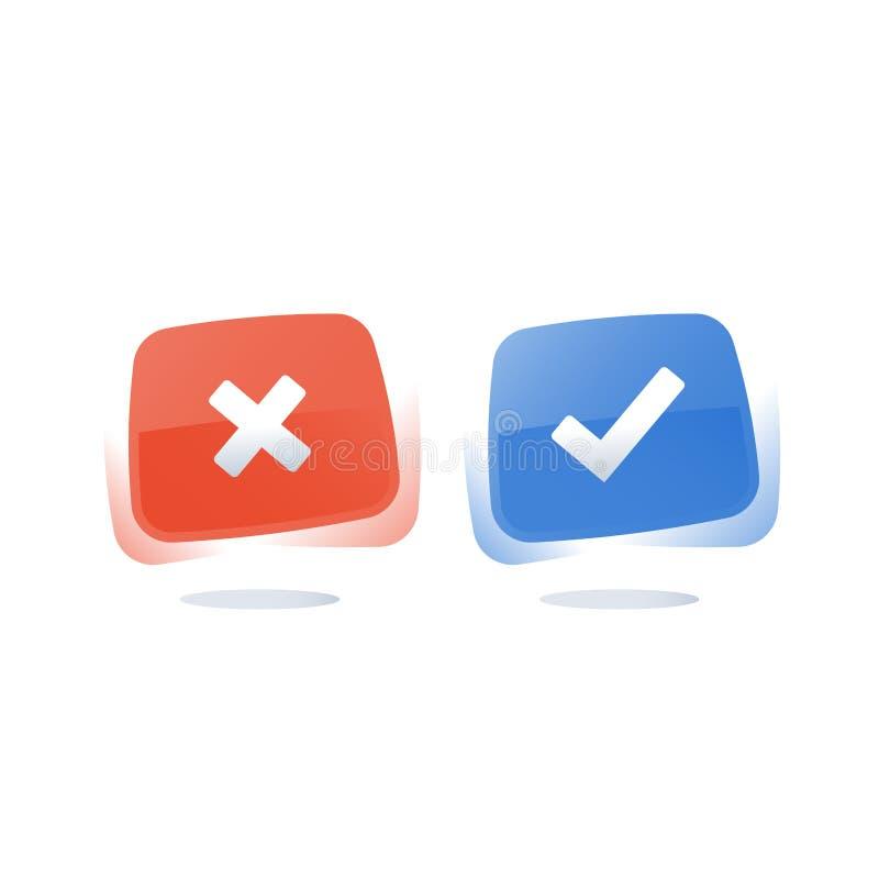 Submeta-se ao questionário da avaliação, o direito ou o errado do botão, o bom ou o mau da experiência, o verdadeiro ou o fa ilustração stock