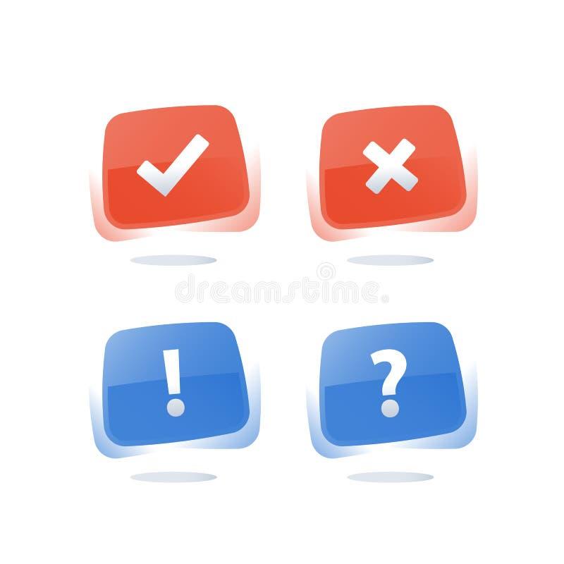 Submeta-se ao question?rio da avalia??o, o direito ou o errado do bot?o, o bom ou o mau da experi?ncia, o verdadeiro ou o falso ilustração do vetor