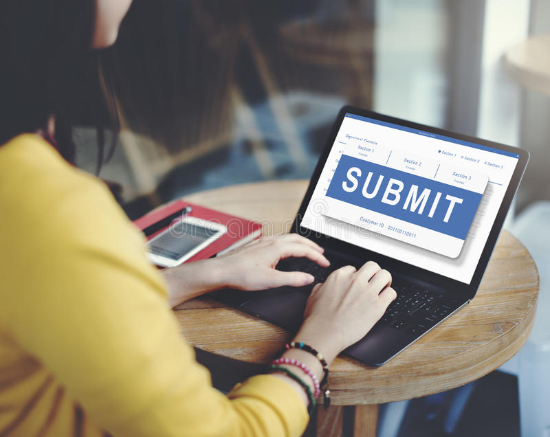 Submit Application Membership Register Send Concept. A woman using laptop with submit screen caption royalty free stock photography