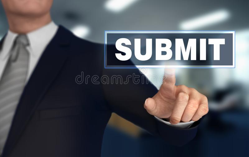 Submit pushing concept 3d illustration. Submit with finger pushing concept 3d illustration stock images
