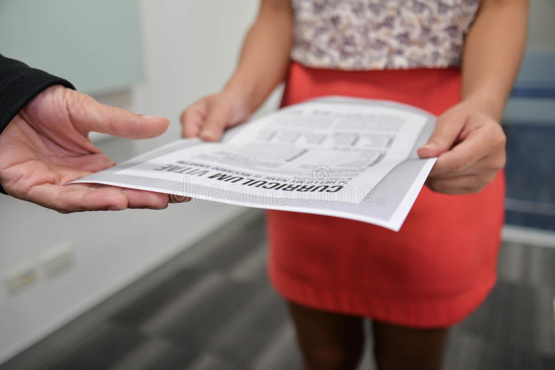Submitted curriculum vitae. To interview stock photography
