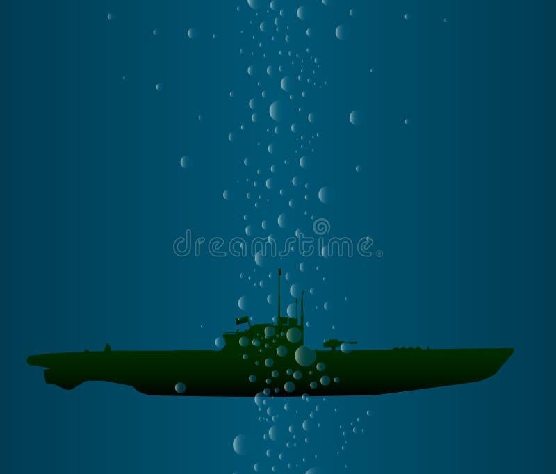 Submurgedwereldoorlog 2 u-Boot royalty-vrije illustratie