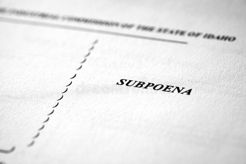 Subpoena for Court Legal Documents