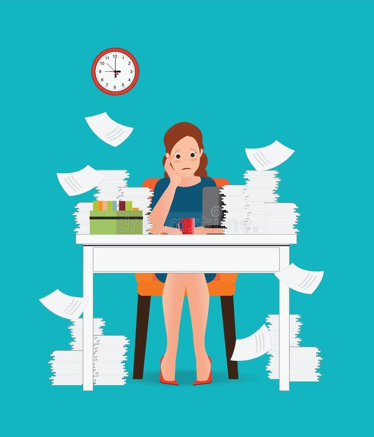 Subraye la situación en la mujer del trabajo, con exceso de trabajo y cansada de negocios ilustración del vector