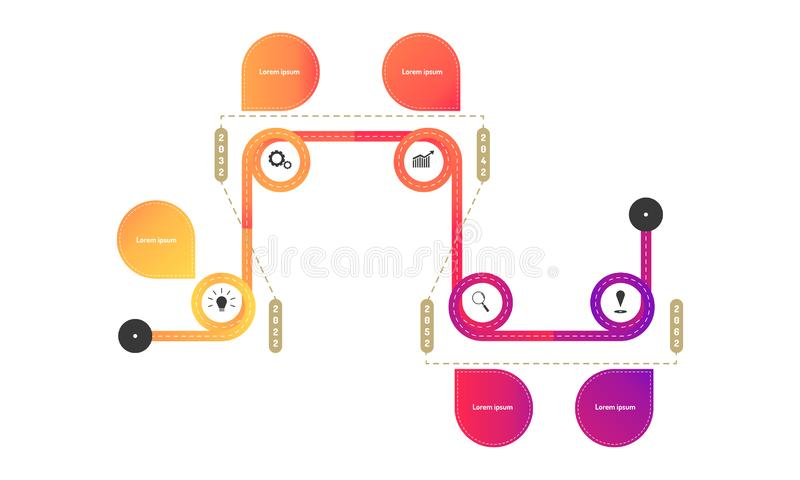 Subring hightway roadmap timeline elements with markpoint graph think search gear target icons. vector illustration eps10. Subring hightway roadmap timeline stock illustration