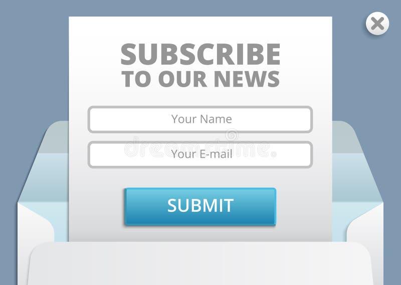 Subscreva à Web do boletim de notícias e ao molde do vetor do formulário do app ilustração stock
