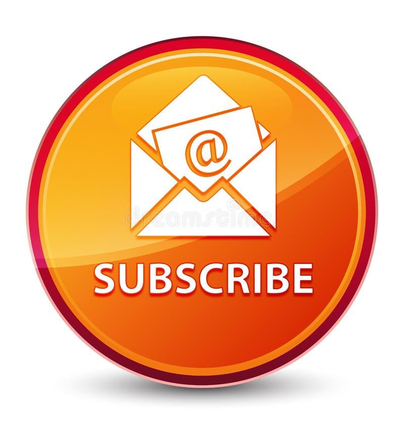 Subscreva (ícone do e-mail do boletim de notícias) o botão redondo alaranjado vítreo especial ilustração stock