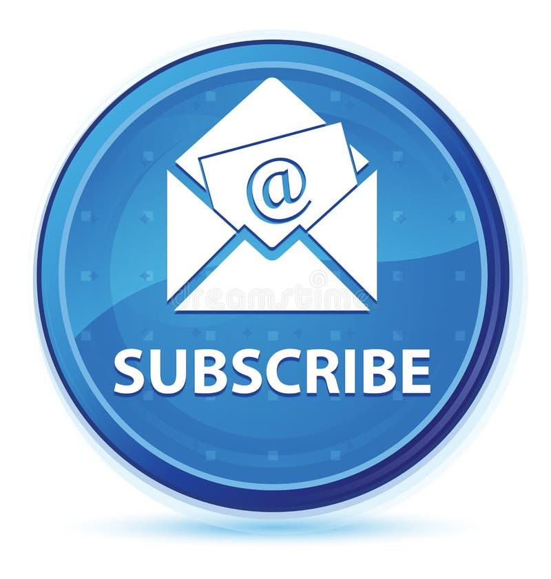 Subscreva (ícone do e-mail do boletim de notícias) o botão redondo principal azul da meia-noite ilustração stock