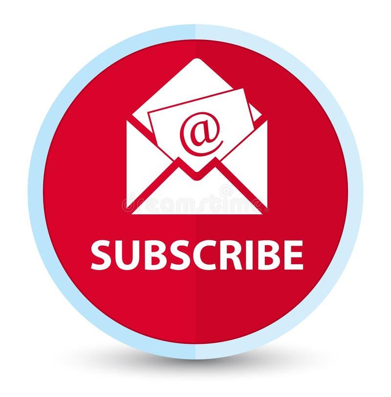 Subscreva (ícone do e-mail do boletim de notícias) o botão redondo vermelho principal liso ilustração stock