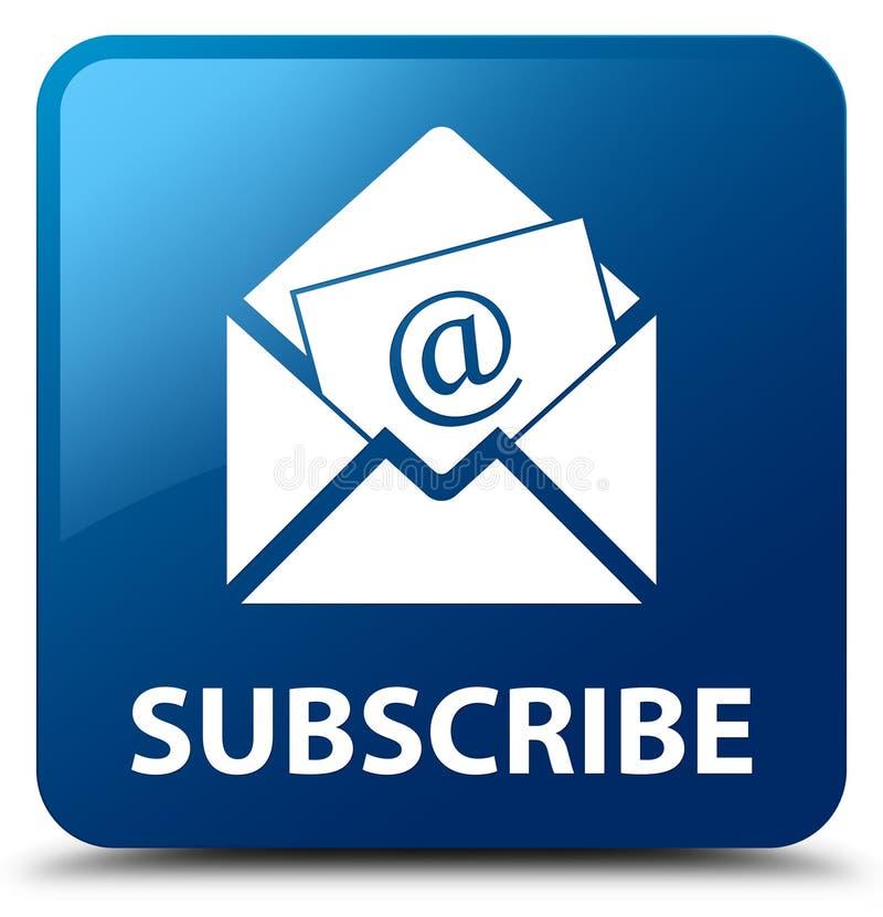 Subscreva (ícone do email do boletim de notícias) o botão quadrado azul ilustração royalty free