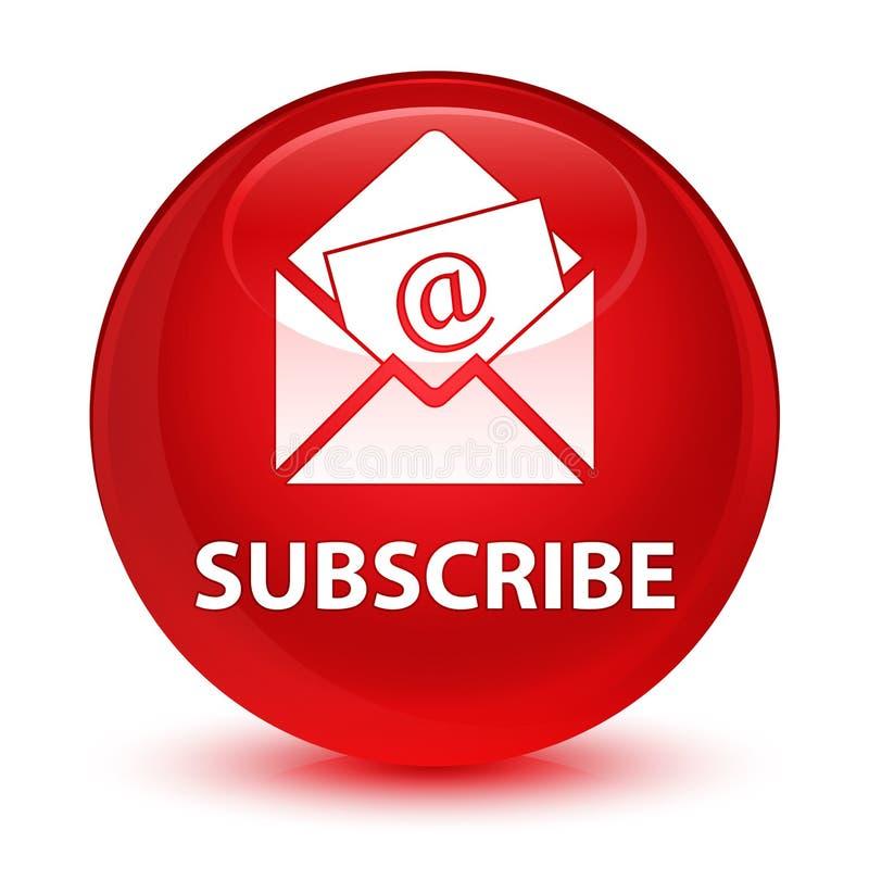 Subscreva (ícone do email do boletim de notícias) o botão redondo vermelho vítreo ilustração do vetor