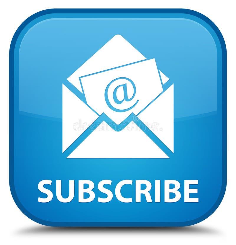 Subscreva (ícone do email do boletim de notícias) o butto quadrado azul ciano especial ilustração royalty free