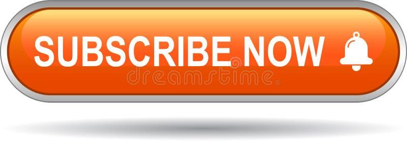 Subscreva agora a laranja do botão da Web do ícone ilustração stock