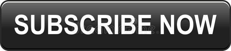 Subscreva agora o preto do botão da Web do ícone ilustração stock