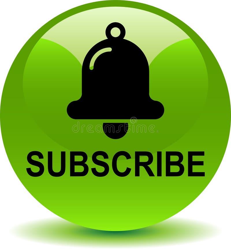 Subscreva agora o verde do botão da Web do ícone ilustração stock
