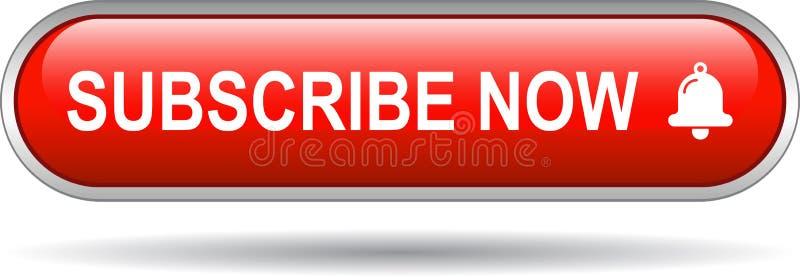 Subscreva agora o vermelho do botão da Web do ícone ilustração stock