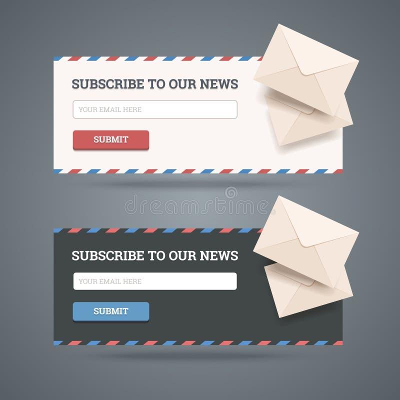 Subscreva ao formulário do boletim de notícias ilustração do vetor