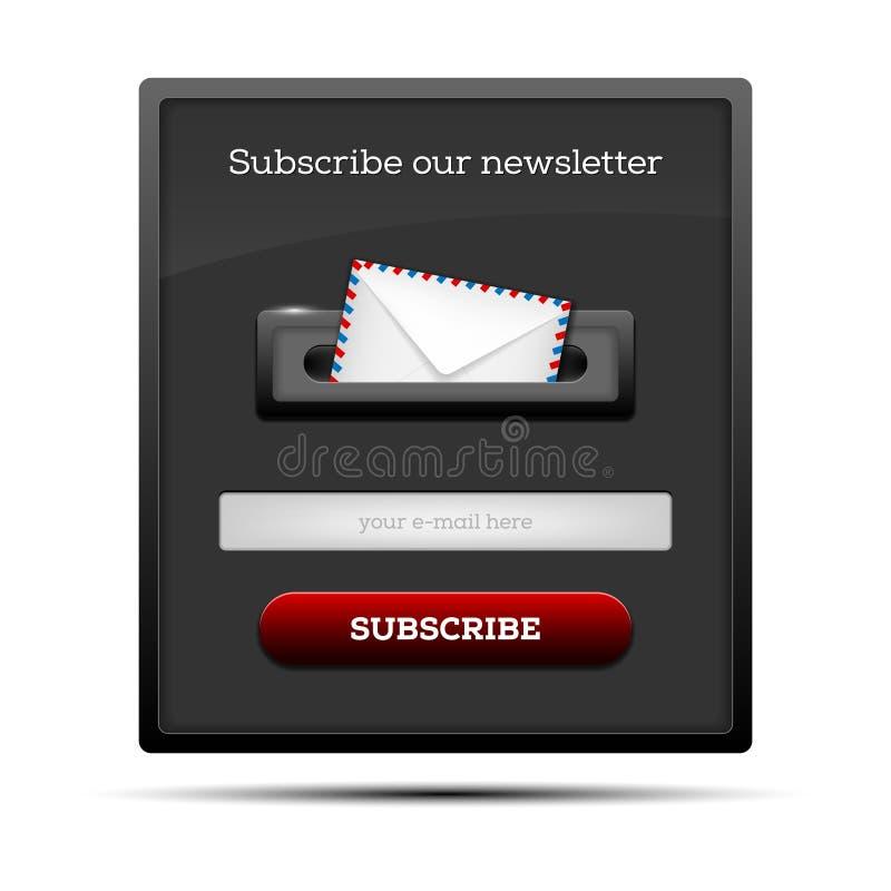 Subscreva nosso boletim de notícias - formulário do Web site ilustração do vetor