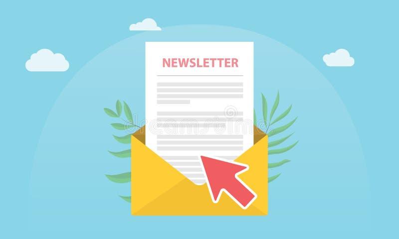 Subscreva o conceito do boletim de notícias isolado com papel da notícia e o envelope aberto e a subscrição do clique da seta ilustração stock