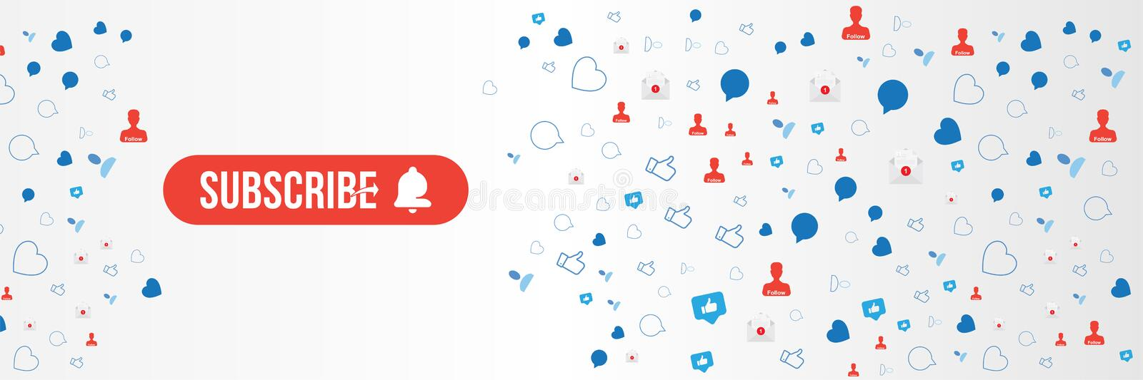 Subscribe Banner with button and bell icon. Red button for channel and video blog in social media on background with Icons of. Subscribe button with bell icon vector illustration