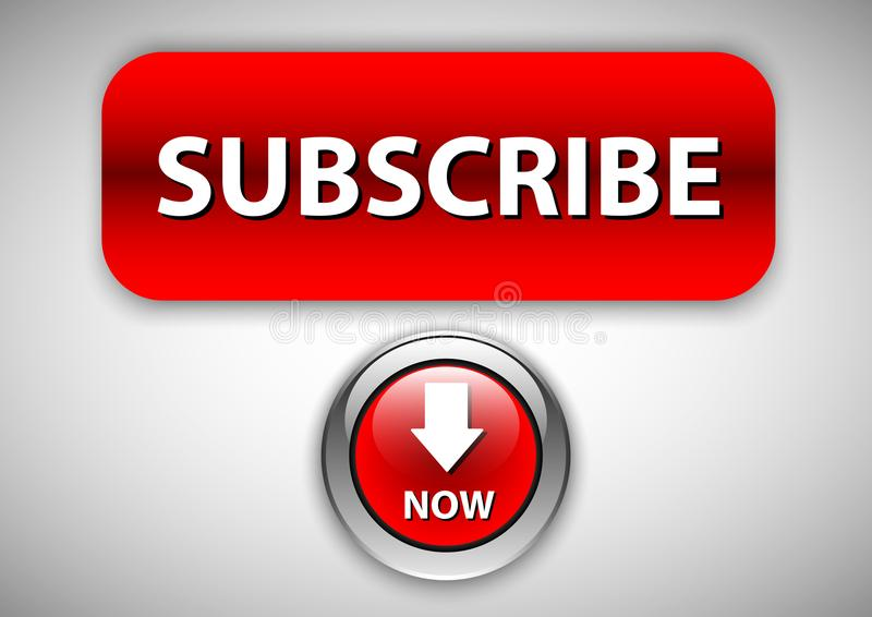 Subscribe button design and glossy effect royalty free illustration