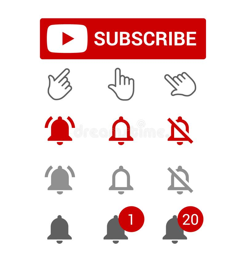 Free Subscribe Button, Red And Grey Bell Alerts, Chat Or Reminder Notifications, Elements For Blogging, Set Of Smm Icons Stock Photography - 173265752