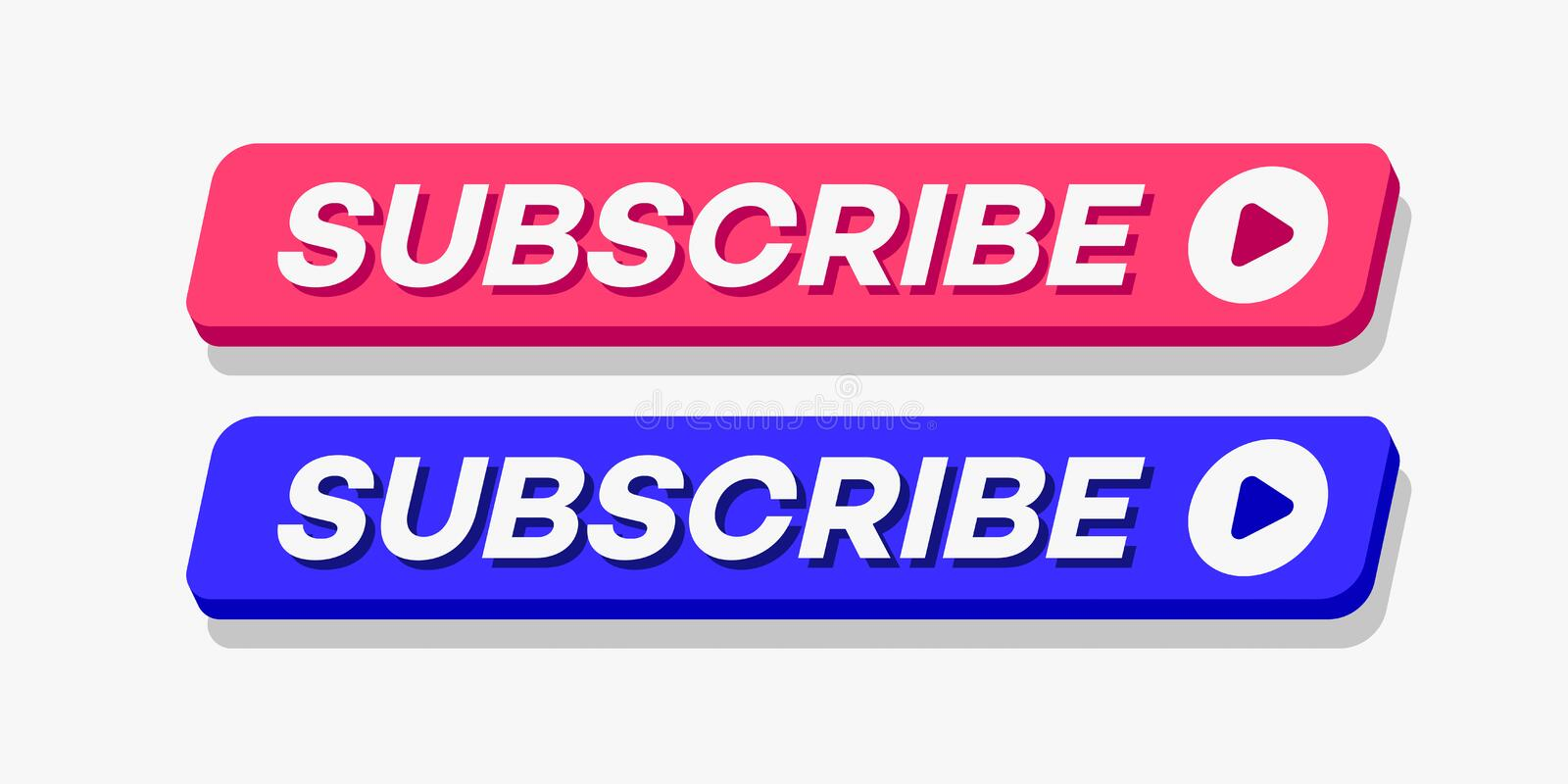 Subscribe button set modern style 皇族释放例证