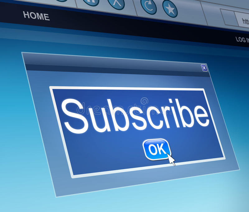 Subscribe concept. Illustration depicting a screen capture with a subscribe concept stock illustration