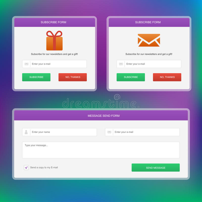 Subscribe forms amd message web form stock illustration